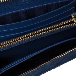 Prada Blue Saffiano Lux Leather Zip Around Wallet 302932
