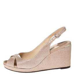 Jimmy Choo Beige Glitter Suede Leather Platform Slingback Sandals Size 38.5 303265