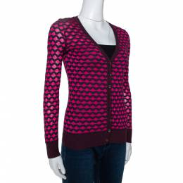 M Missoni Pink Knit Button Front Fitted Cardigan S 303099