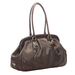 Prada Brown/Dark Brown Canvas Frame Shoulder Bag 300525