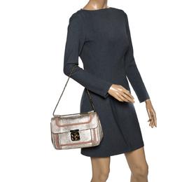 Chloe Gold Lizard Effect Leather Medium Braided Detail Elsie Shoulder Bag 303225