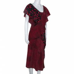 Diane Von Furstenberg Red Printed Silk Cross Over Ruffle Detail Midi Dress S 303130