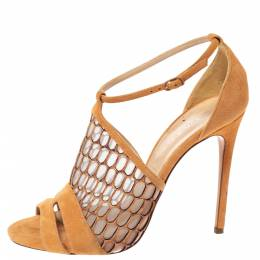 Casadei Light Ochre Mesh And Suede Honeycomb Pattern Ankle Strap Sandals Size 38 303352