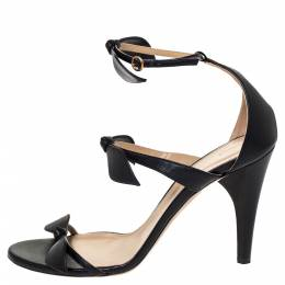Chloe Black Leather Three Bows Mike Ankle Strap Sandals Size 39 303239