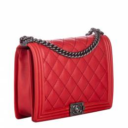 Chanel Red Clafskin Leather XL Double Stitch Boy Bag 300630