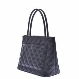 Chanel Black Caviar skin Leather Medallion Tote Bag 303210
