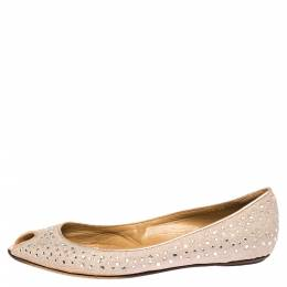 Valentino Pink Embellished Glitter Fabric Peep Toe Ballet Flats Size 39 302974