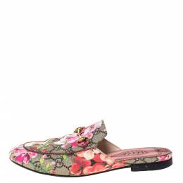 Gucci Multicolor GG Supreme Blooms Printed Canvas Princetown Horsebit Loafer Slides Size 36 302978