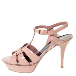 Saint Laurent Beige Patent Leather Tribute Platform Ankle Strap Sandals Size 39 303488