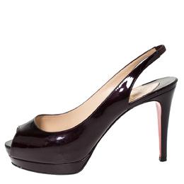 Christian Louboutin Dark Burgundy Patent Leather Lady Peep Platform Slingback Sandals Size 37.5 303489