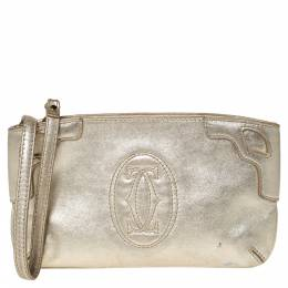 Cartier Gold Leather Marcello de Cartier Wristlet Clutch 302952
