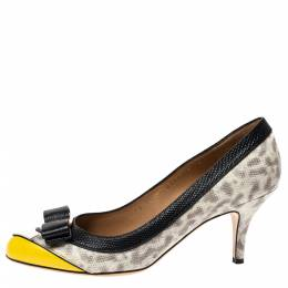 Salvatore Ferragamo Tricolor Lizard Embossed Leather Vara Bow Pumps Size 37.5 302875