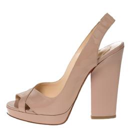 Christian Louboutin Beige Patent Leather Marpoil Peep Toe Platform Slingback Sandals Size 41 303529