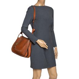 Chloe Brown Perforated Leather Hayley Shoulder Bag 302934