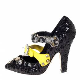 Dolce&Gabbana Black Sequins And Leather Embellished Mary Jane Pumps Size 40 303280
