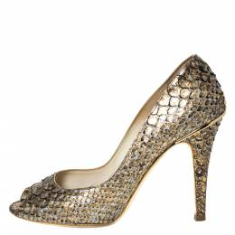 Chanel Metallic Gold Python Leather Peep Toe Pumps Size 38 303519