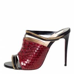 Christian Louboutin Black/Red Leather And Python Chain Embellished Akenana Sandals Size 37 303279