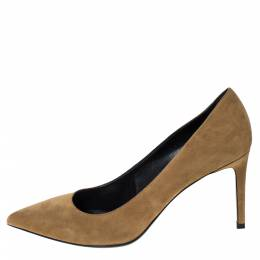 Saint Laurent Brown Suede Zoe Pointed Toe Pumps Size 40 303478