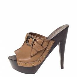 Burberry Brown Leather Buckle Detail Platform Open Toe Sandals Size 38 303266
