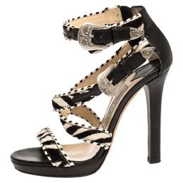 Jimmy Choo Monochrome Zebra Print Pony Hair And Leather Trim Maddox Sandals Size 37.5 303089