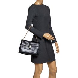 Bvlgari Black Leather Medium Serpenti Forever Flap Shoulder Bag 303408