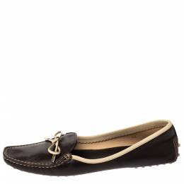 Tod's Brown Leather Square Toe Bow Loafers Size 40 303319