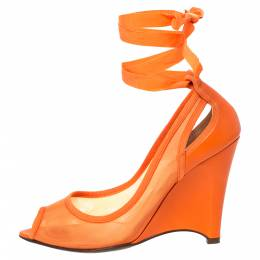 Fendi Orange Mesh And Leather Peep Toe Cut Out Wedge Ankle Warp Pumps Size 39 303246