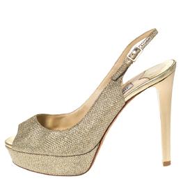 Jimmy Choo Metallic Gold Glitter Fabric Verity Peep Toe Platform Slingback Sandals Size 35 302309