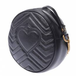 Gucci Black GG Marmont Leather Mini Round Shoulder Bag 303223