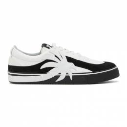 Palm Angels White and Black Palm Vulcanized Low Sneakers PMIA047E20LEA0021001