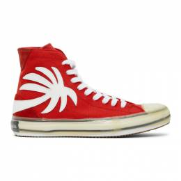 Palm Angels Red Palm Vulcanized High Sneakers PMIA048E20FAB0012501