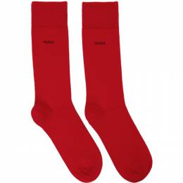 Hugo Two-Pack Black and Red Logo Socks 50401984
