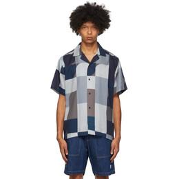 Saturdays Nyc Indigo and Brown Geoblock Canty Shirt M32030CT01