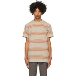 Saturdays Nyc Khaki Stripe Randall Pocket T-Shirt M32012RN01