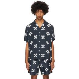 Saturdays Nyc Navy Floral Canty Ikat Shirt M32030CT02