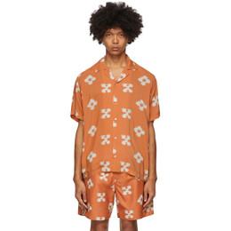 Saturdays Nyc Orange Floral Canty Ikat Shirt M32030CT02