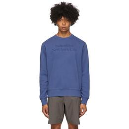 Saturdays Nyc Indigo Bowery Miller Crewneck Sweatshirt M32028BW02