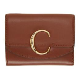 Chloe Brown Small Chloe C Tri-Fold Wallet CHC19WP088A37