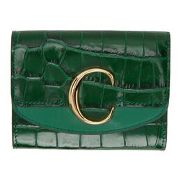 Chloe Green Small Chloe C Tri-Fold Wallet CHC19WP088A87