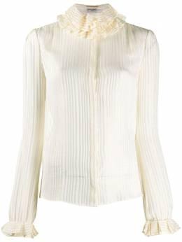 Saint Laurent блузка с высоким воротником и оборками 633387Y3B43