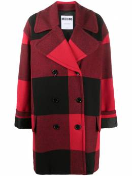 Moschino checked double-breasted coat A06185513