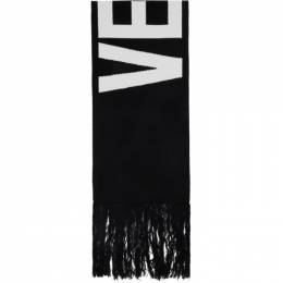 Vetements Black Jacquard Logo Scarf UAH21AC307