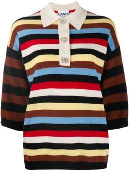 Ganni striped cashmere polo shirt K1382