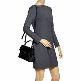 Michael Kors Black Leather Small Ava Top Handle Bag 303395