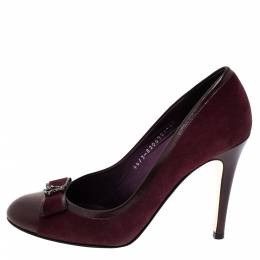 Gina Burgundy Suede And Leather Cap Toe Bow Embellished Round Toe Pumps 38.5 303621