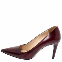 Prada Burgundy Leather Pointed Toe Pumps Size 37 303637