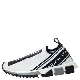 Dolce&Gabbana White/Black Stretch Fabric Logo Sorrento Slip On Sneakers Size 40 313702