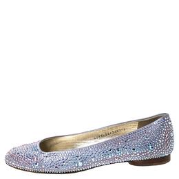 Gina Lilac Crystal Embellished Satin Ballet Flats Size 39 303614