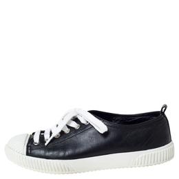 Prada Sport Black Leather Cap Toe Sneakers Size 35.5 303311