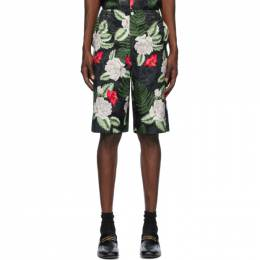 Gucci Black and Green Hawaiian Print Shorts 619073ZAEMQ
